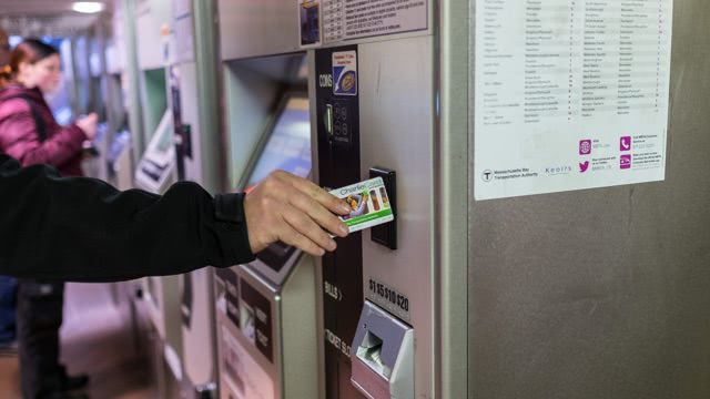 A fare vending machine in an MBTA station
