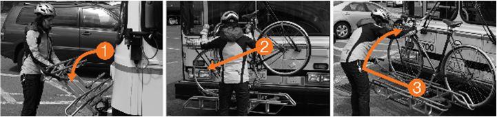 person loading bike onto bus bike rack in 3 steps