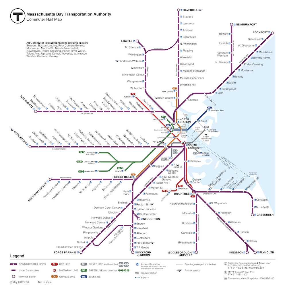 Map of Commuter Rail lines