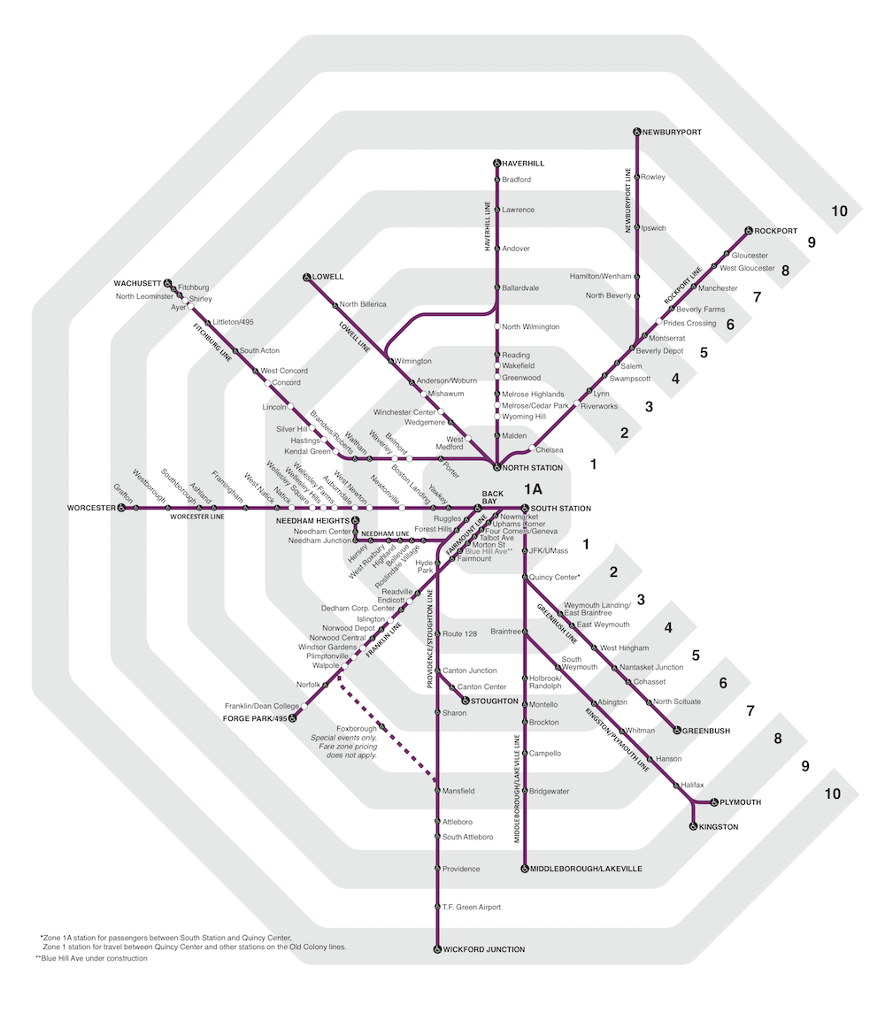 Geographic commuter rail mail with zones shaded in alternating white and gray.