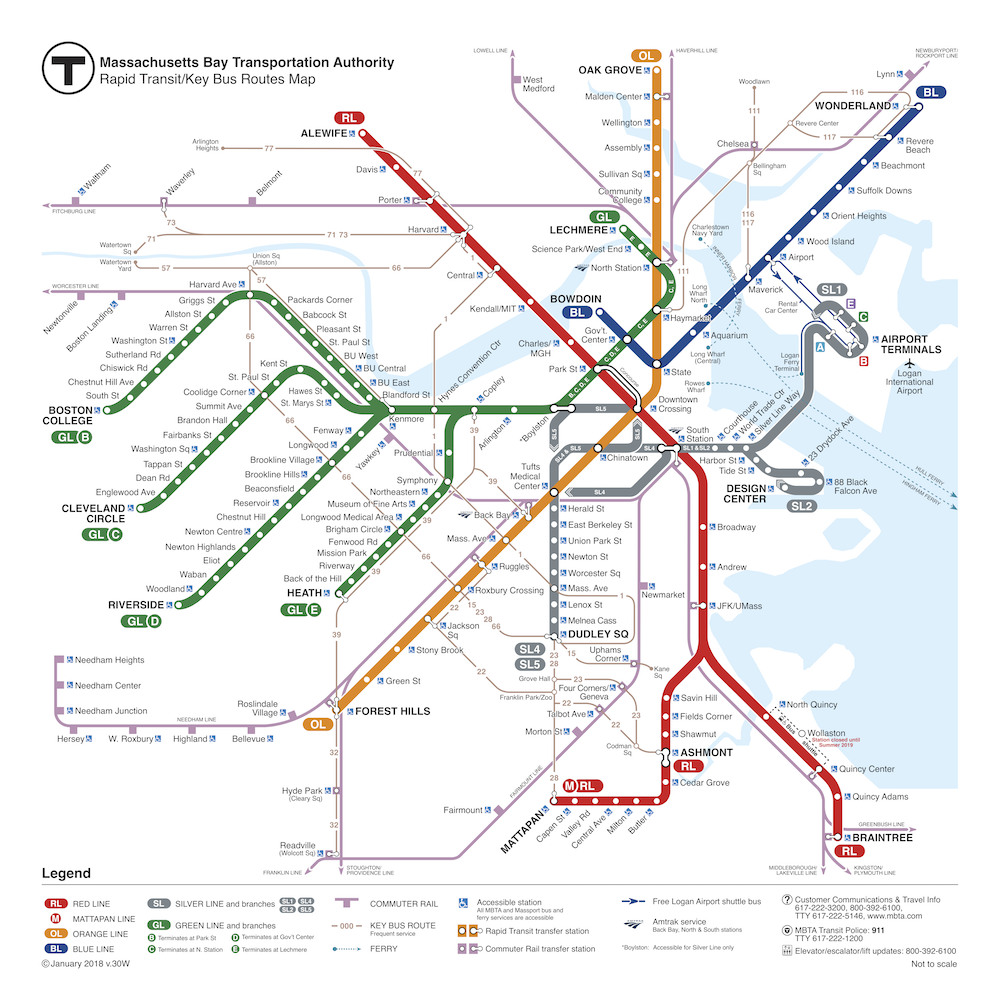 Map of rapid transit lines and key bus routes
