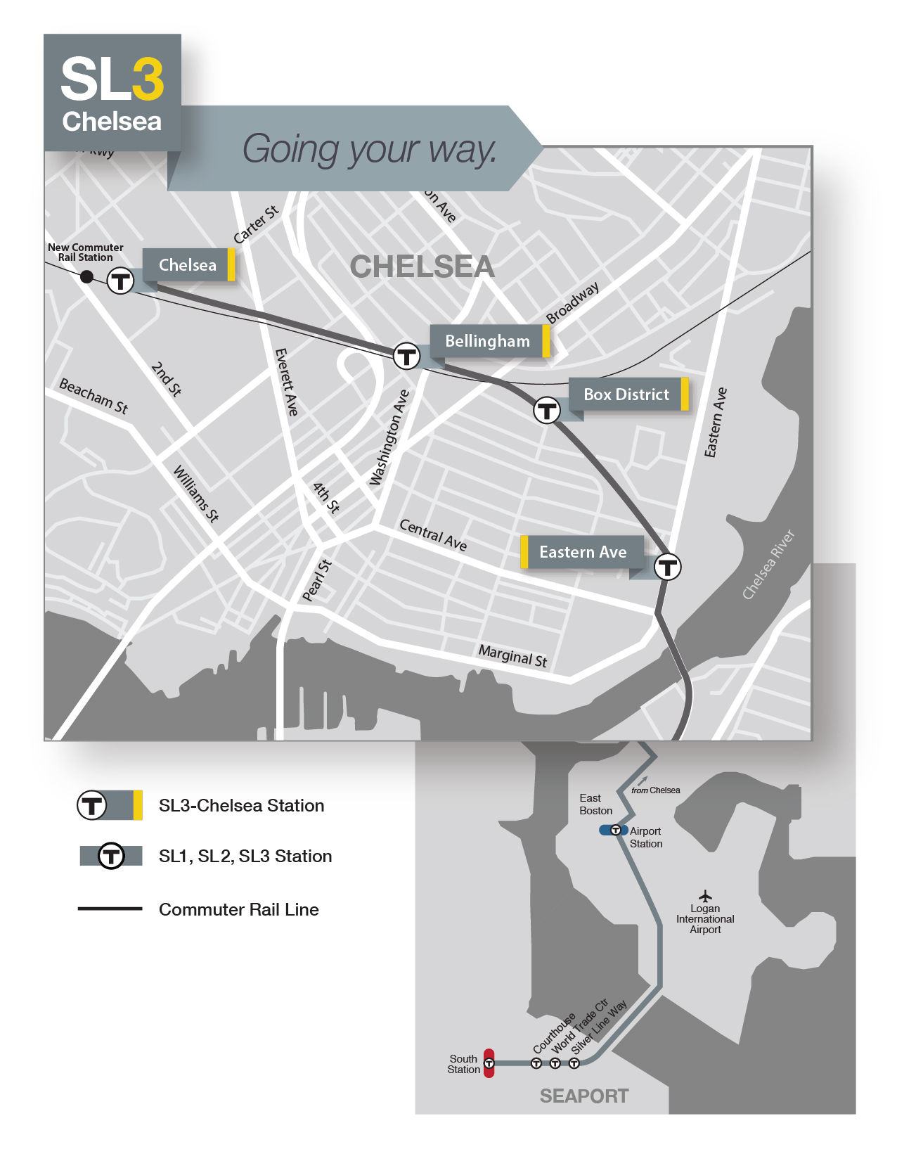 Stylized map of SL3 stops and its route from Chelsea to South Station