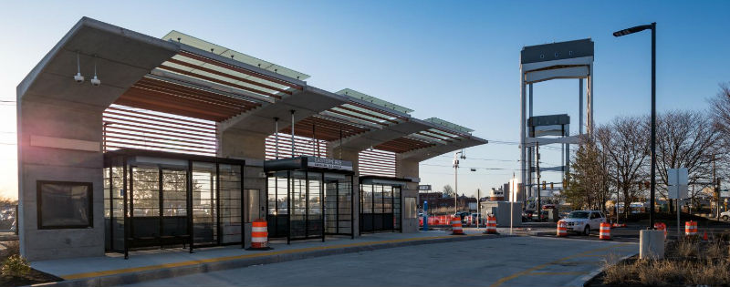 The new Eastern Ave station, with the Chelsea Street Bridge in the background.