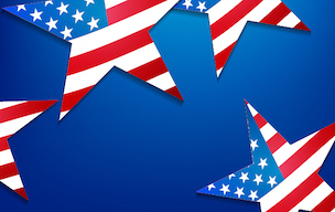 A background of blue with large stars filled with the American Flag design of red, white, and blue stars and stripes.