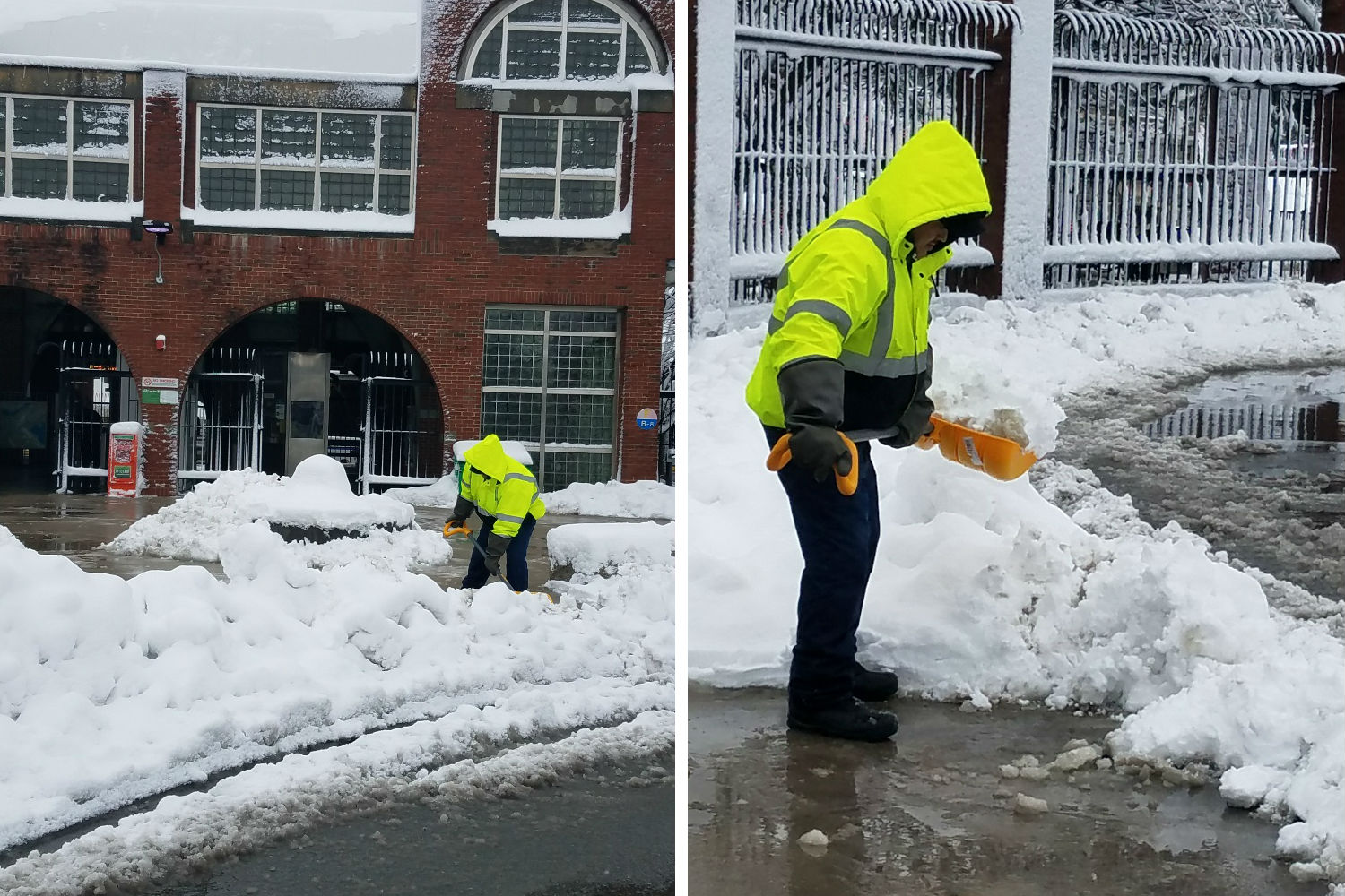 A crewperson shovels snow outside a station on the Blue Line. The first photo is a far shot, and the second one is a closeup.