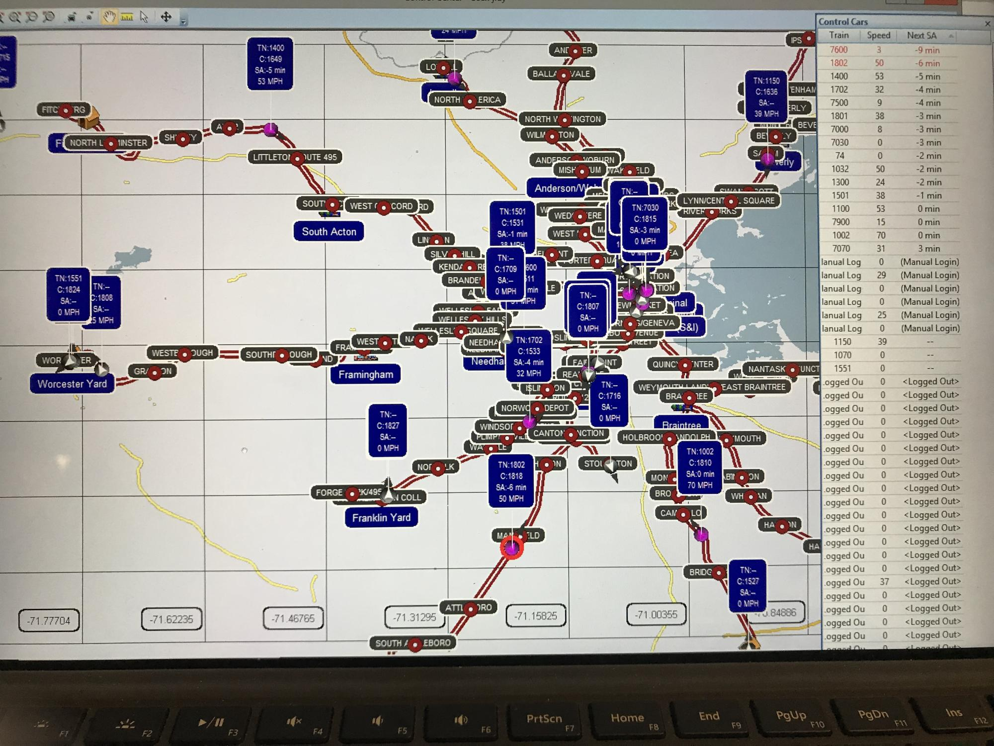 A computer screen showing all the Commuter Rail stops, indicating train locations and speeds.